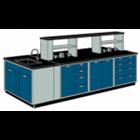 Meja Lab Ruangan Tengah Island Bench dengan Sink Rack 1