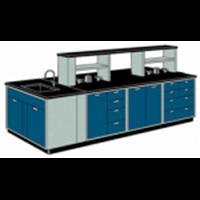 Meja Lab Ruangan Tengah Island Bench dengan Sink Rack