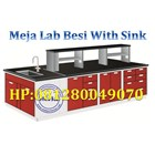 Steel Island Bench with Sink and RackMeja Lab Ruang Tengah dengan Sink Rack 1