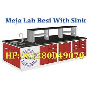 Steel Island Bench with Sink and RackMeja Lab Ruang Tengah dengan Sink Rack