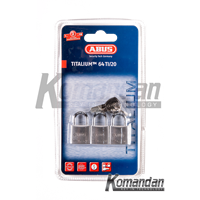 Gembok ABUS 64TI/20mm Titalium Outdoor Padlock 3 Units
