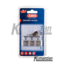 ABUS 64TI/20mm Titalium Outdoor Padlock 3 Units