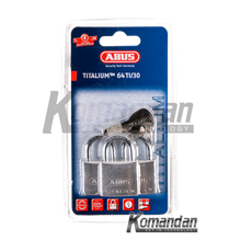 ABUS 64TI/30mm Titalium Outdoor Padlock 3 Units