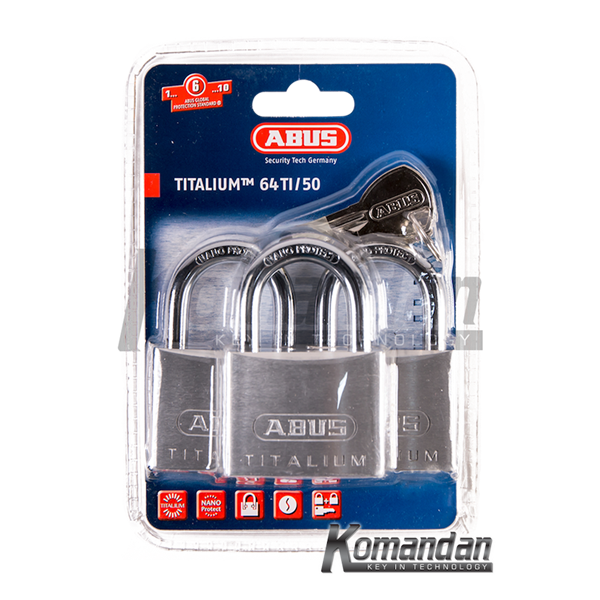 GEMBOK ABUS 64TI/50mm Titalium Outdoor Padlock 3 Units