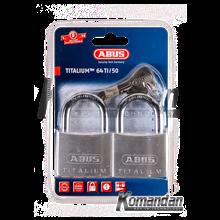 ABUS 64TI/50mm Titalium Outdoor Padlock 2 Units