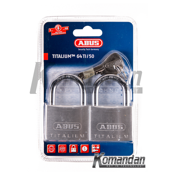 ABUS 64TI/50mm Titalium Outdoor Padlock 2 Units
