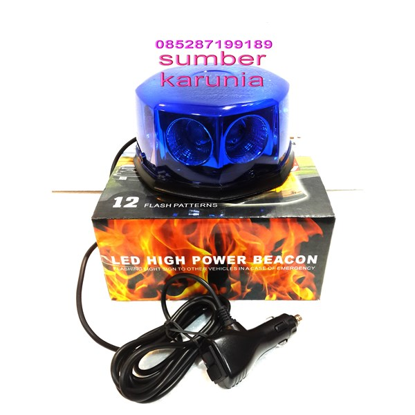 Lampu Rotator Patwal Polisi Bulat 12V - 24V Biru
