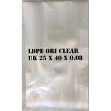 KANTONG PLASTIK LDPE ORI CLEAR 25 X 40 X 0.08mm