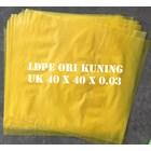 KANTONG PLASTIK LDPE ORI KUNING uk.40 X 40 X 0.03 1