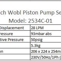 Welch Wobl Piston Pump Model  2534C-01 1