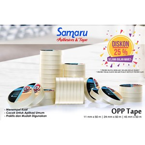 Bopp Adhesive Tapes - Samaru Tape - Opp Tape 43 Mic - Lakban 24 Mm X 50 M-Transparent/Clear
