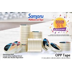 Bopp Adhesive Tapes - Samaru Tape - Opp Tape 43 Mic - Lakban 11 Mm X 50 M-Transparent/Clear