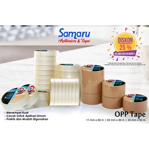 Bopp Adhesive Tapes - Samaru Tape - Opp Tape 43 Mic - Lakban 45 Mm X 50 M - Brown