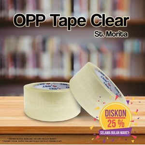 Bopp Adhesive Tapes - St. Morita - Opp Tape 45 Mic - Lakban 48 Mm X 91 M-Transparent/Clear