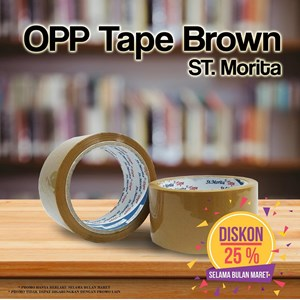 Bopp Adhesive Tapes - St. Morita - Opp Tape 43 Mic - Lakban  48 Mm X 82 M - Brown