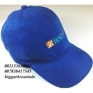 Topi promosi bahan rafel logo BNI
