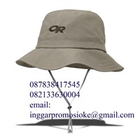 Topi rimba promosi warna krem cetak bordir 1