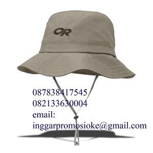 Topi rimba promosi warna krem cetak bordir