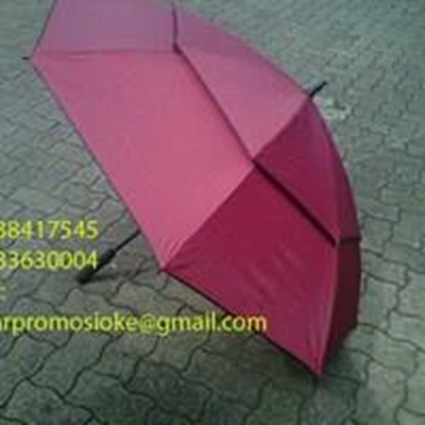 Payung golf  fiber promosi warna merah marun