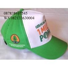 Topi golf bahan kanvas warna hijau putih