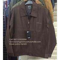 Jaket boss krah biasa bahan katun coklat