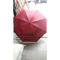 Payung golf susun fiber merah hati 05