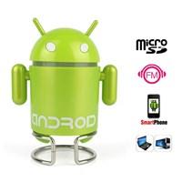 Jual Cute Robot Speaker Mini Multi Function Mp3 Player Fm Radio ( Green )