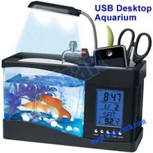 Mini Fish Tank Usb Desktop Aquarium With Running Water ( Barang Pecah Belah )