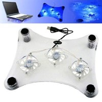 Notebook Laptop Cooling Pad With 3 Fans & Blue Led White ( Aksesoris Laptop )