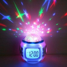 Led Starry Star Sky Projection Digital Calender Music Alarm Clock ( Jam Dinding )