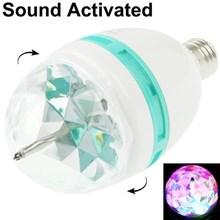 E27 3W Colorful Light Sound Activated Led Rotating Lamp Light Bulb Ac 85-260V ( Lampu Led )
