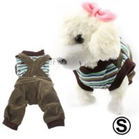 Spring And Summer Striped Shirt & Overalls Suitable For Teddy Bichon Poodle Chihuahua Size: S ( Kaos )