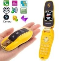 Jual F6 Yellow Personality Slide Metal Material Mobile Phone With Camera ( Handphone )