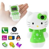 K10 Green Hello Kitty Style Bluetooth Fm Function Mini Bar Children Phone With Camera ( Handphone )