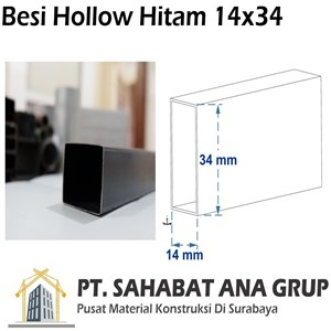 Besi hollow hitam 14x34x0.8 mm