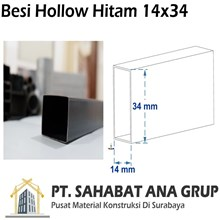 Besi Hollow Hitam 14×34x1 mm
