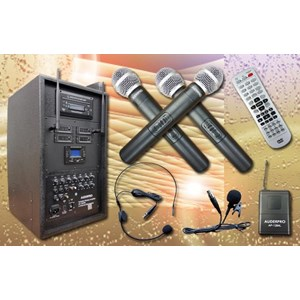 Portable Wireless Amplifier Auderpro Ap-1284Pa Dvd Usb Kaset 4 Chanel Microphone Wireless Dilengkapi Dengan Trolly Garansi 1 Th