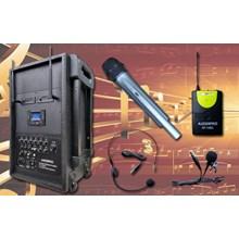 Paket Portable Wireless Amplifier Speaker Auderpro AP-1282PA-B Bluetooth Usb Berkualitas Bagus Terjamin Garansi