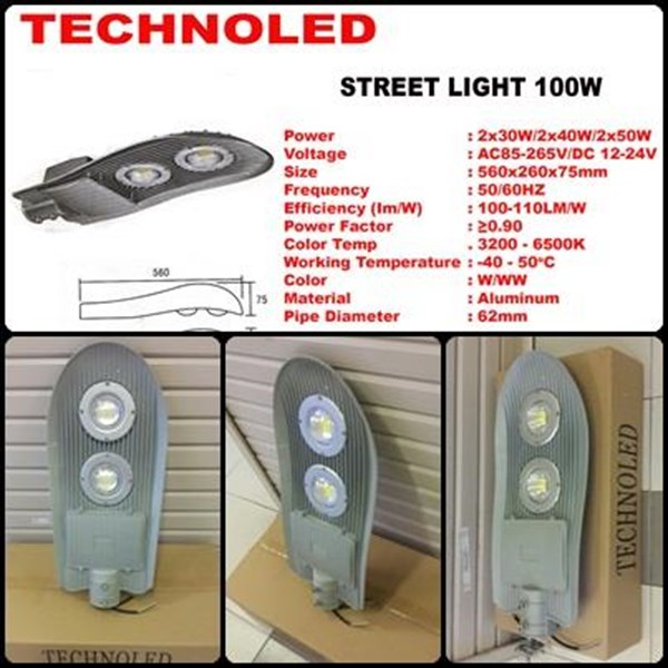 lampu jalan LED technoled 100w pju