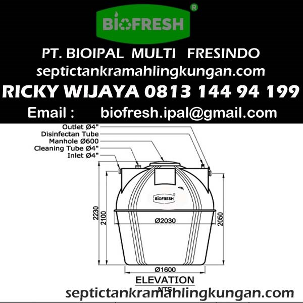 Ukuran Septic Tank Biotech BT 16
