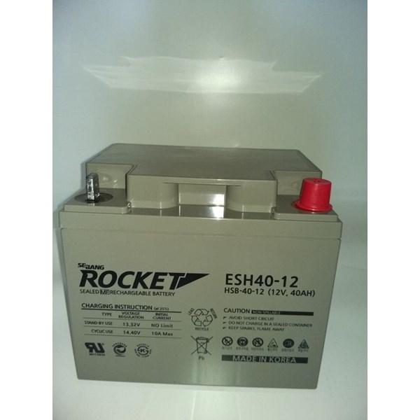 Baterai Kering Rocket Es 40H-12 12V 40 Ah Made In Korea Asli- Aki Accu Garansi Resmi