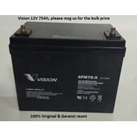 Jual  Baterai Kering Vision 6Fm 75-X 12V 75 Ah - Aki Accu Murah Garansi Resmi!!