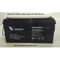 Agm Batteries Vrla Baterai Kering Vision 6Fm 150E 12V 150 Ah - Aki Accu Original