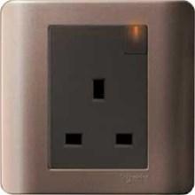 Stop Kontak AC 13A Dengan Saklar & Indikator Neon Zencelo Silver Bronze E8415N_SZ