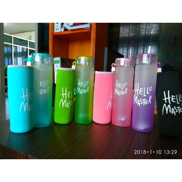 Sell GLASS DRINKING BOTTLE HELLO MASTER PLUS FREE POUCH