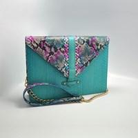 Tas Kulit Dan Handbags Wanita Kulit Python - Ivy Turquoise