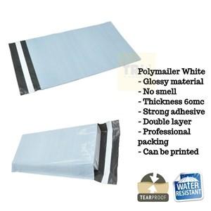 Kemasan Pouch Dan Amplop Plastik Polymailer White Double Layer 60 Mc 25 X 35 + 5 Cm