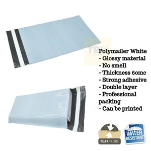 Kemasan Pouch Dan Amplop Plastik Polymailer White Double Layer 60 Mc 28 X 40 + 5 Cm