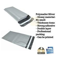 Kemasan Pouch Dan Amplop Plastik Polymailer Silver Double Layer 60 Mc 17 X 30 + 5 Cm