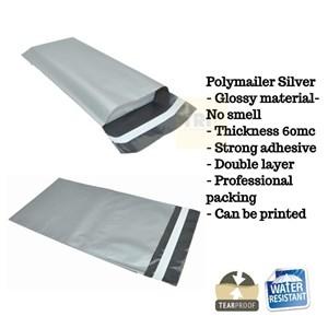 Kemasan Pouch Dan Amplop Plastik Polymailer Silver Double Layer 60 Mc 25 X 35 + 5 Cm
